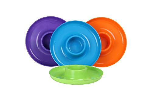 GreatPlate GP-TLOP-4PK AZ Teal Lime Green Orange Purple Mix 4-Pack, 1 Teal,1 Lime Green, 1 Orange, 1 Purple GreatPlates, Food Tray and Beverage Holder, Dishwasher Safe, Microwave Safe, Made in USA, Picnics, Parties, Tailgates, Appetizers, Great for Kids