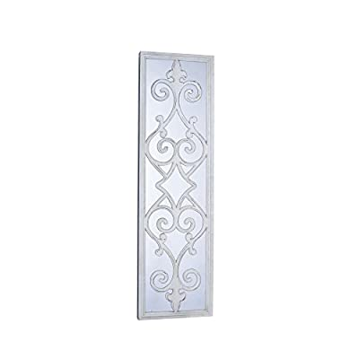 Household Essentials Large Framed Decorative Scroll Wall Mirror, White