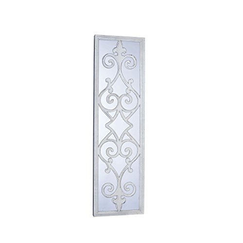Cheap Household Essentials Large Framed Decorative Scroll Wall Mirror, White