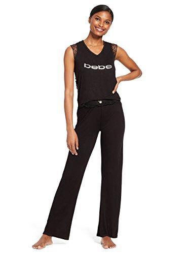 bebe Womens 2 Piece Cap Sleeve V-Neck Lace Trim Top Pants Pajama Lounge Set Black Medium ()