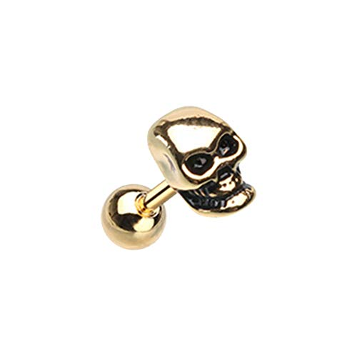 18 GA Golden Skull Head Cartilage Tragus Earring (Davana Enterprises Gold Plated) -