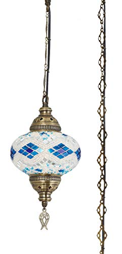 (20 Colors) DEMMEX 2019 Hardwired or Swag Plug in Turkish Moroccan Mosaic Ceiling Hanging Light Lamp Chandelier Pendant Fixture Lantern, Hardwired OR Plug in with 15feet Cord & Chain - Lamp Hanging Swag Glass