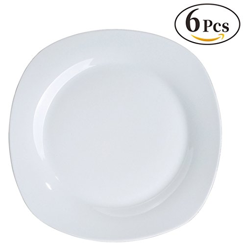 YHY 6 Pcs 10.5-inch Porcelain Dinner Plates, Square Round Serving Plate Set, White (Elegance White Dinnerware)