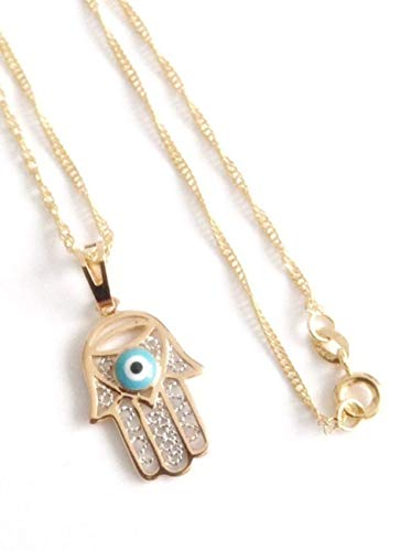 Hamsa Hand evil eye necklace 19.5 Inches 18K gold plated chain La Mano de Fatima contra mal de ojo ()