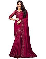 magenta Indian Woman Silk Sari Sequin & Thread Embroidery Border & Blouse Saree Diwali Festival 1259