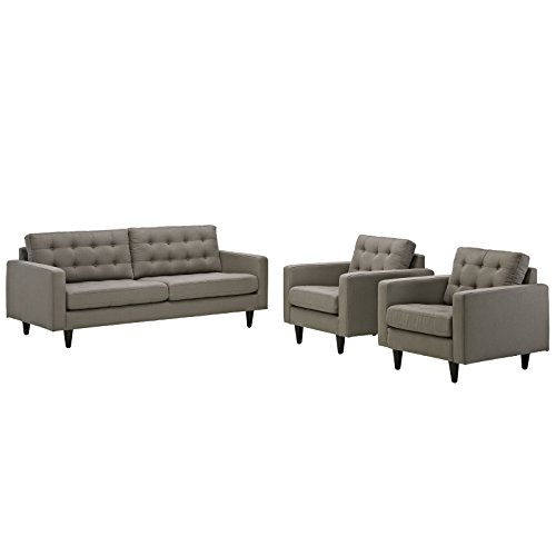 Modway Empress Mid-Century Modern Upholstered Fabric Sofa and Two Armchair Set In Granite