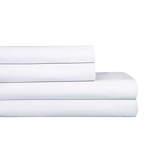 AURAA Royale 1000 Thread Count 100% American Supima Long Staple Cotton Sheet Set,4 Pc Set, Queen Sheets Sateen Weave,Hotel Collection Luxury Bedding,Upto 18' Deep Pocket,White