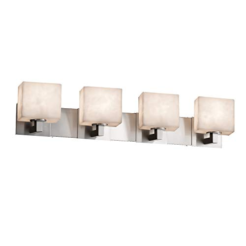 Justice Design Group Lighting CLD-8924-55-NCKL Justice Design Group - Clouds - Modular 4-Light Bath bar - Rectangle - Brushed Nickel Finish with Clouds Shade, (Bath Light Nickel Cloud Four)