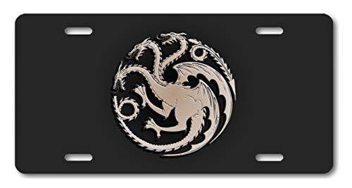 Voss Collectables House Targaryen Game of Thrones Aluminum License Plate Car Truck Grey ()