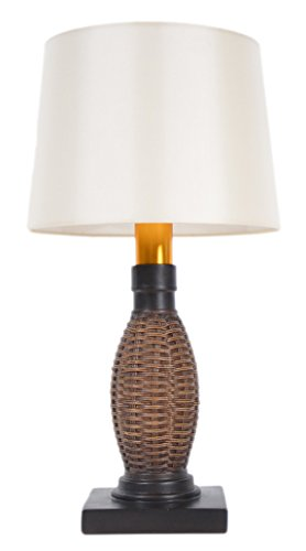 Torch Light AB-OW1313B Wireless All Weather Wicker Table Lamp, Antique Bronze