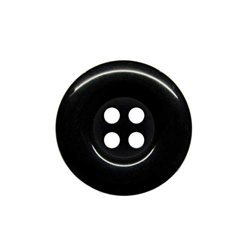 (ButtonMode Uniform and Workwear Buttons with 4 Holes Includes 22 Buttons Measuring 19mm (3/4 Inch) Ideal for Manufacturing, Factory, Food Service, Facility and Automotive Uniforms, Black, 22-Buttons)