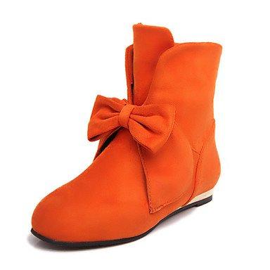 Toe Office Botines De CN36 US6 EU36 Suede Botines Plano Botas De amp;Amp; Moda Mujer Ronda RTRY Para Confort Zapatos Otoño Invierno Tacón Botas Bota Bowknot Novedad UK4 fq1Ta