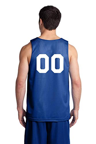 Players Inc Basketball Custom Numbered Royal-White Reversible Mesh Uniform Top (Adult ()