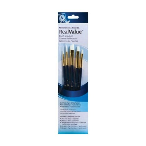 Princeton Art & Brush Real Value Synthetic Brush Set, Round Size 1 and 4, Angular Shader Size 3/8, Shader Size 4 and 8, White - Brush Shader Angular Taklon