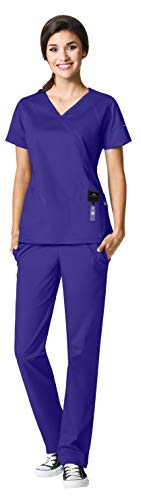 - WonderWink Seven Flex Women's Medical Uniforms Scrub Set Bundle- 6702 Crossover Mock Wrap Scrub Top & 5702 Cargo Scrub Pants & MS Badge Reel (Grape - XX-Large/XXX-Large)