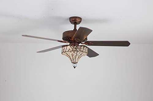 52'' Crystal Ceiling Fan With Lights and Remote 5 Wood Blhts and Remote 5 Wood Blades Reversible Brown For Livng Room Bedroom Decorationades Reversible Brown For Livng Room Bedroom Decoration