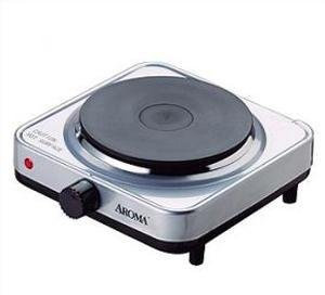 Aroma Housewares AHP 303SB Single Hot Plate, Silver And Black