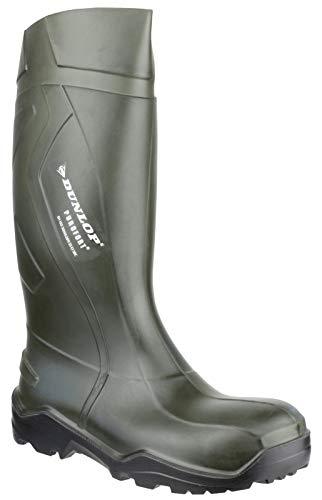Dunlop Dunlop Mens Purofort+ Steel Toe & Midsole Safety Wellington Boots Green PU UK Size 9 (EU 43) - Midsole Safety Boots