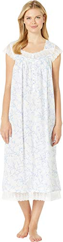Eileen West Cotton Nightgown Gown - Eileen West Women's Cotton Woven Lawn Ballet Cap Sleeve Nightgown White Ground Floral Small