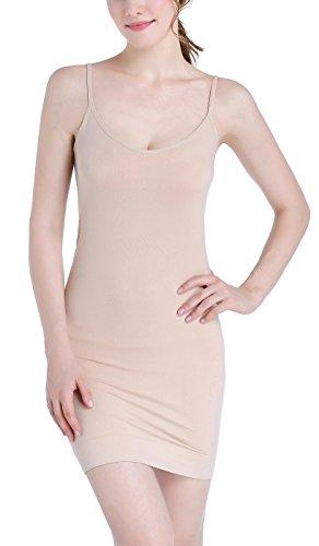 - Women's Nylon Spandex Seamless Long Cami Slip Dress,Nude,X-Large