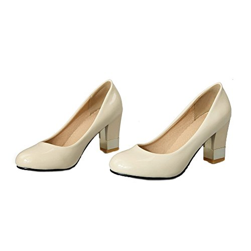VogueZone009 Women's Pull-On Round-Toe High-Heels Patent Leather Pumps-Shoes Beige G1w7emzKH