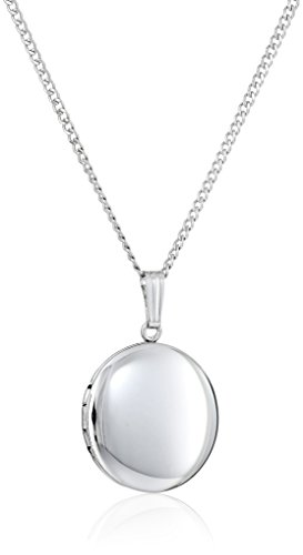 Sterling Silver Round Locket (Sterling Silver Polished Round Locket Necklace,)