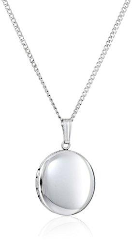 Sterling Silver Polished Locket - Sterling Silver Polished Round Locket Necklace, 18