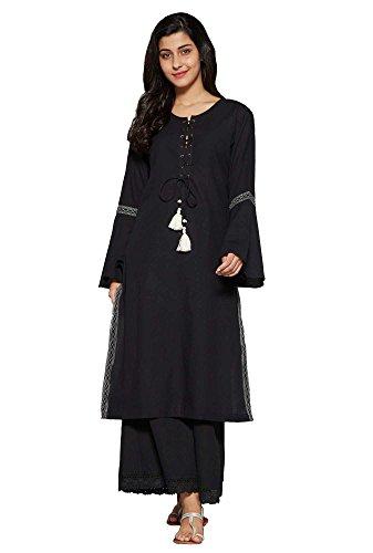 Aahwan Women's Indian Kurtis Cotton with 3/4 Flute Sleeve Calf Long Dress Medium - 38 ()