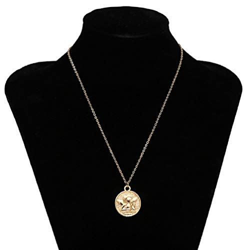 ge Carved Coin Pendant Necklace Statement Face Goddess Virgin Mary Rose Angel Long Chain Necklace Women (Style A:Golden Color) ()