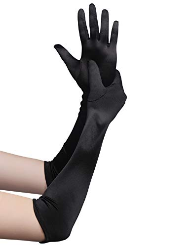 (BABEYOND Classic Long Opera Pageant Party 1920s Satin Gloves Stretchy Adult Size Elbow Wrist Length 20.5