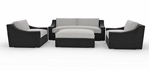 Toja Bretton Outdoor Patio Sofa Set (4 pcs) | Wicker Rattan Body with Sunbrella Cushions (Cast Silver)