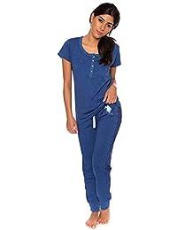 Womens Short Sleeve Shirt and Long Pajama Pants Sleepwear Set