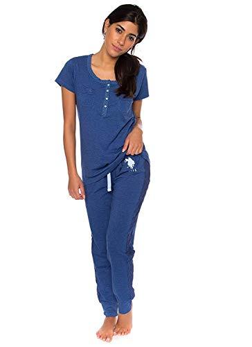 U.S. Polo Assn. Womens 2 Piece Short Sleeve Pocket Shirt Pajama Sleep Sweatpants Blue Dept Heather 3X ()