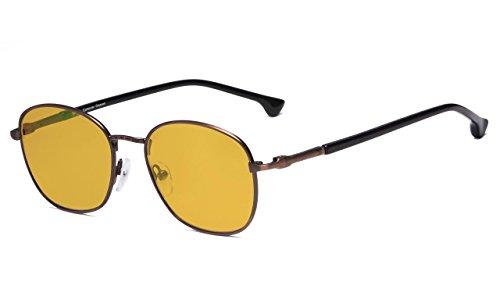 Eyekepper Retro Metal Frame Reading Glasses with 80% Blue Blocking Visible Coating Amber Tinted Lens (Anti-Bronze, 1.25) (Tinted Bronze Lens)