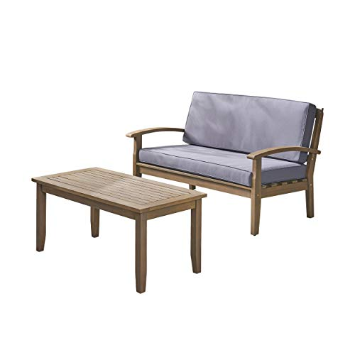 Christopher Knight Home 305896 Keanu Outdoor Acacia Wood Loveseat and Coffee Table, Gray/Dark Gray