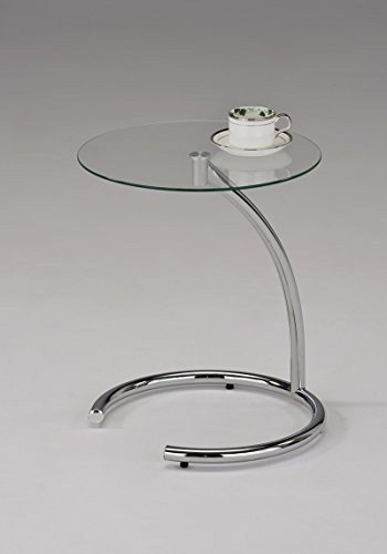 Chrome Modern End Table - Kings Brand Chrome With Glass Modern Accent Side End Table