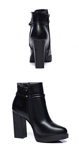 Chelsea Stivali XBXB Tronchetti Tacchi Calzature Donna alti o Donna Moda Neri Female Cuoio RRFqT