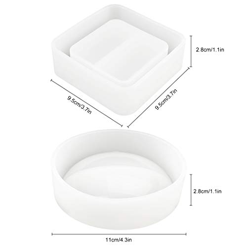 Zoylink 2PCS Resin Casting Mold DIY Round Square Shaped Silicone Craft Mold Ashtray Mold