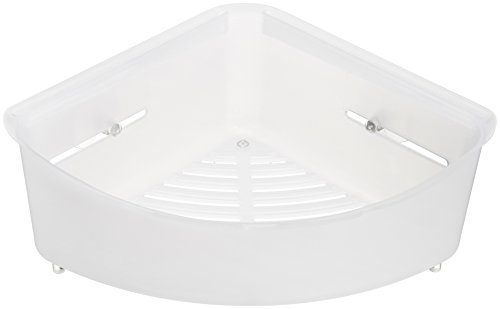 AmazonBasics Corner Shower Basket with Suction Mount - White 660 Suction Cup