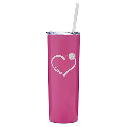 (20 oz Skinny Tall Tumbler Stainless Steel Vacuum Insulated Travel Mug With Straw Love Heart Basketball (Hot Pink))