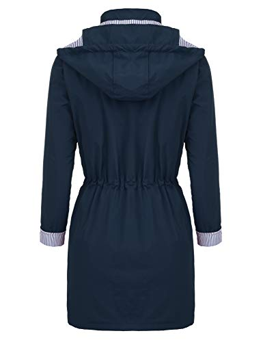Long Outdoor Unbrand Active Antipioggia Cappuccio Trench Con Giacca Donna Da blue Style Impermeabili Cx14qf