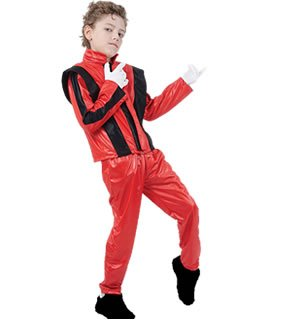 [Medium Red Superstar Jacket & Trousers Costume] (Childrens Michael Jackson Costumes)