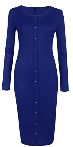 Women's Crew Neck Button Down Ribbed Sleeve Knit Bodycon Sweater Dress Blue S