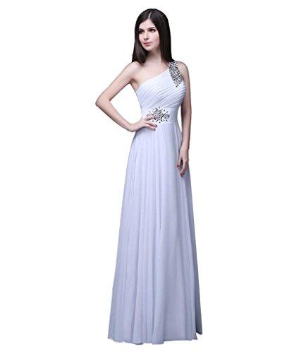 formalen Damen Edaier Weiß prom eine Kleid Schulter Beaded Kleid Chiffon Abend 0drqxd6w