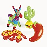 OTC Inflatable Fiesta Decorations (Assorted Styles : Cactus, Chili Pepper, Donkey, Lizard, Mexican) (4-Pack)