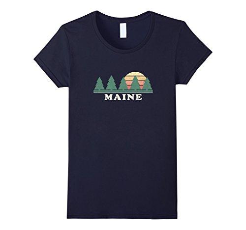 Womens Maine Me T Shirt Vintage Graphic Tee Retro 70S Design Medium Navy
