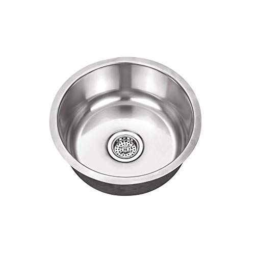 - Cahaba CA122R17 x 17-1/8 18 Gauge Stainless Steel Single Bowl Round Bar Sink with Drain Assembly