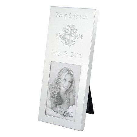 Silver Brushed 2x3 Wedding Bells Place Card Frame Personalized Gift (Place Frame Brushed Card Silver)