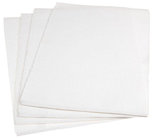 Mahogany Solid-Color 100-Percent Cotton Ribbed Placemat, 13-Inch by 19-Inch, White, Set of 4 ()