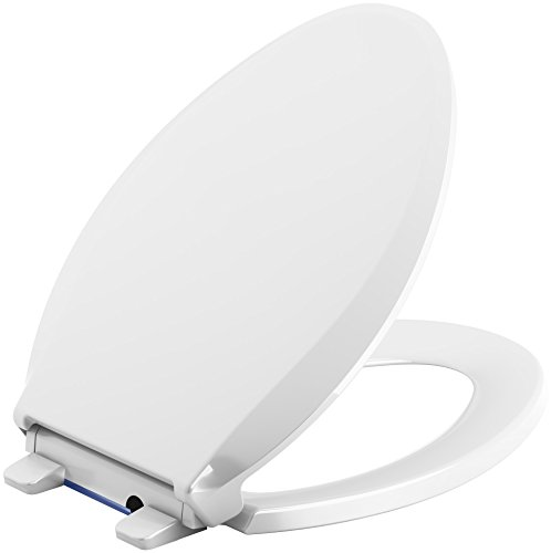 KOHLER 75796-0 Cachet Nightlight Quiet-Close with Grip-Tight Elongated-Front Toilet Seat in White